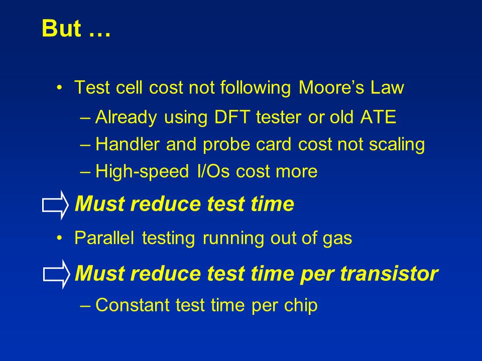 But … Test cell cost not following Moore's Law