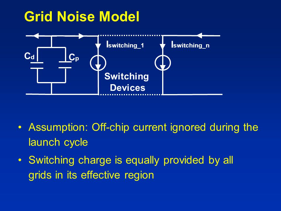 Grid Noise Model Cd. Cp. Iswitching_1. Iswitching_n. Switching. Devices. Assumption: Off-chip current ignored during the launch cycle.