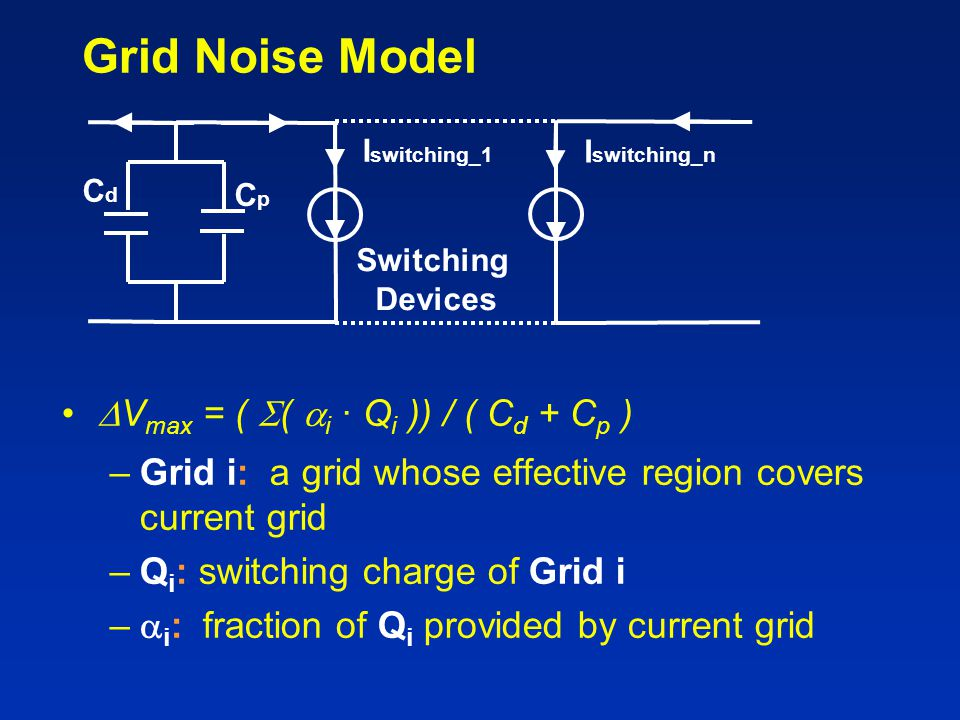 Grid Noise Model Vmax = ( ( i · Qi )) / ( Cd + Cp )