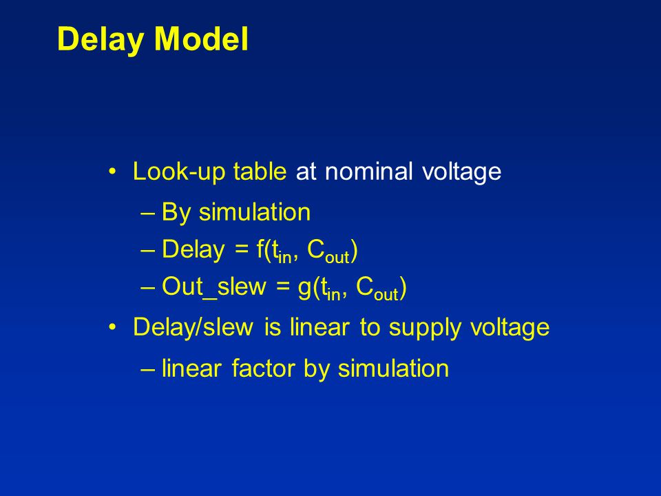 Delay Model Look-up table at nominal voltage By simulation