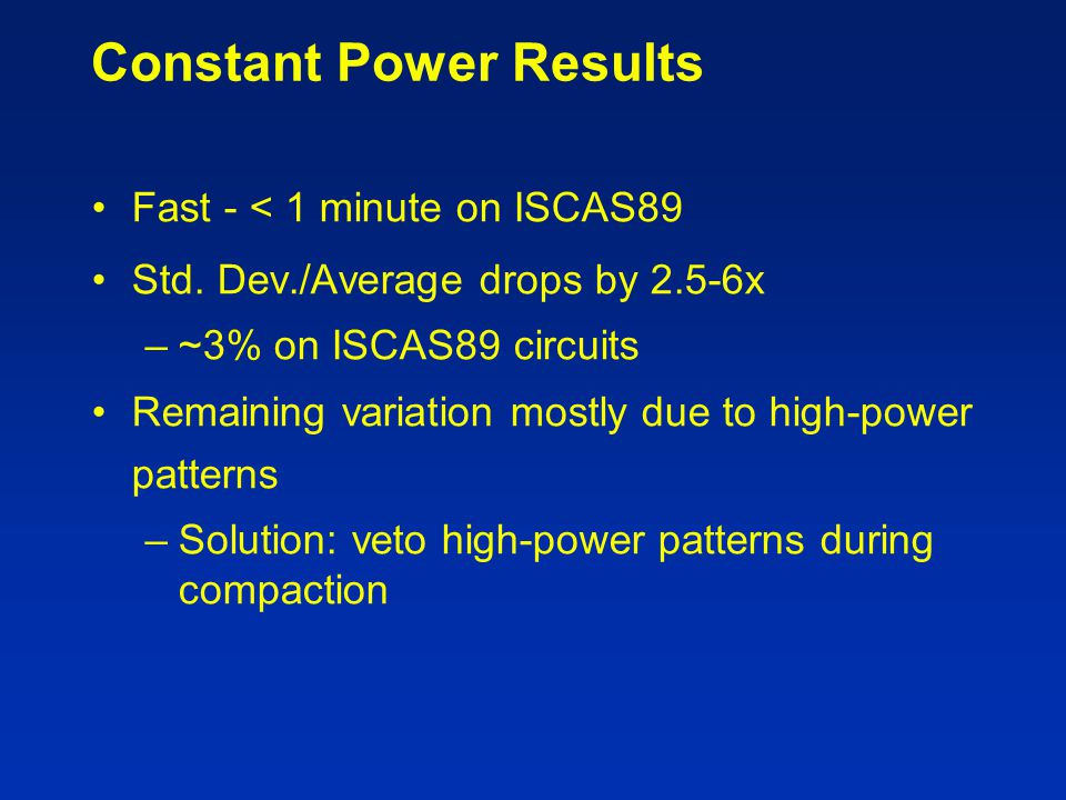 Constant Power Results