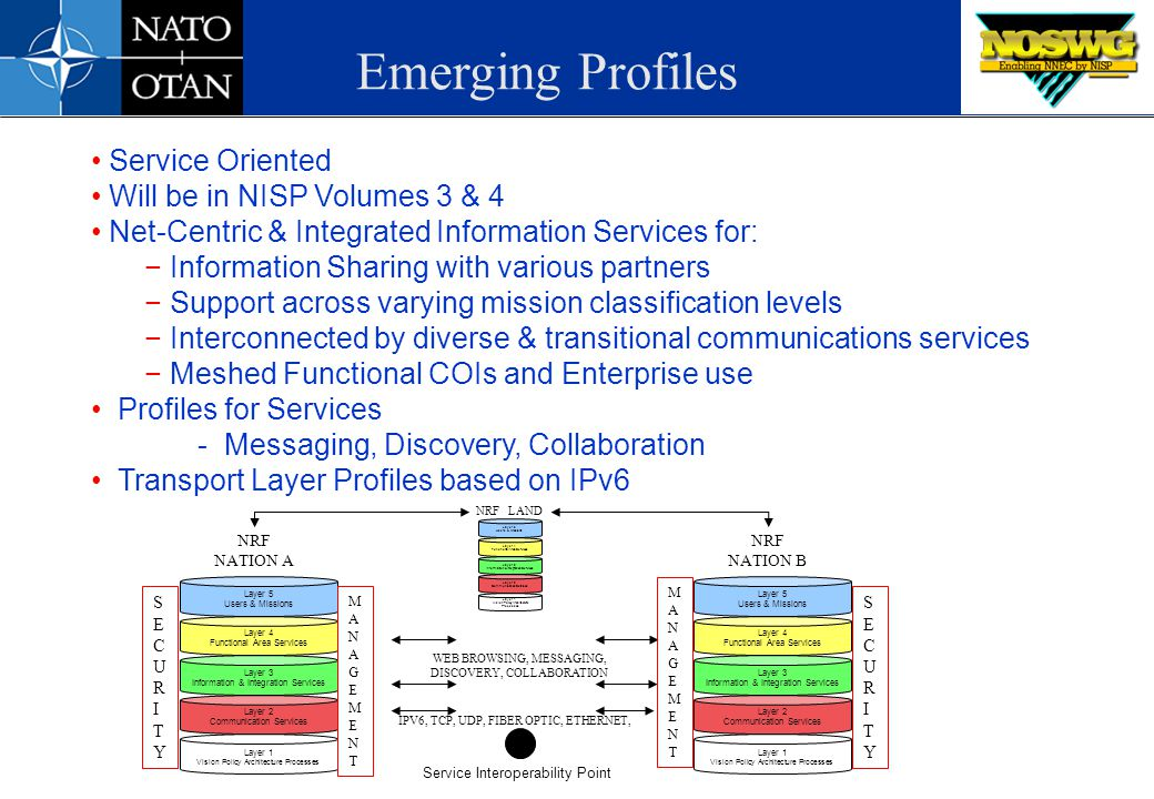 Emerging Profiles Service Oriented Will be in NISP Volumes 3 & 4