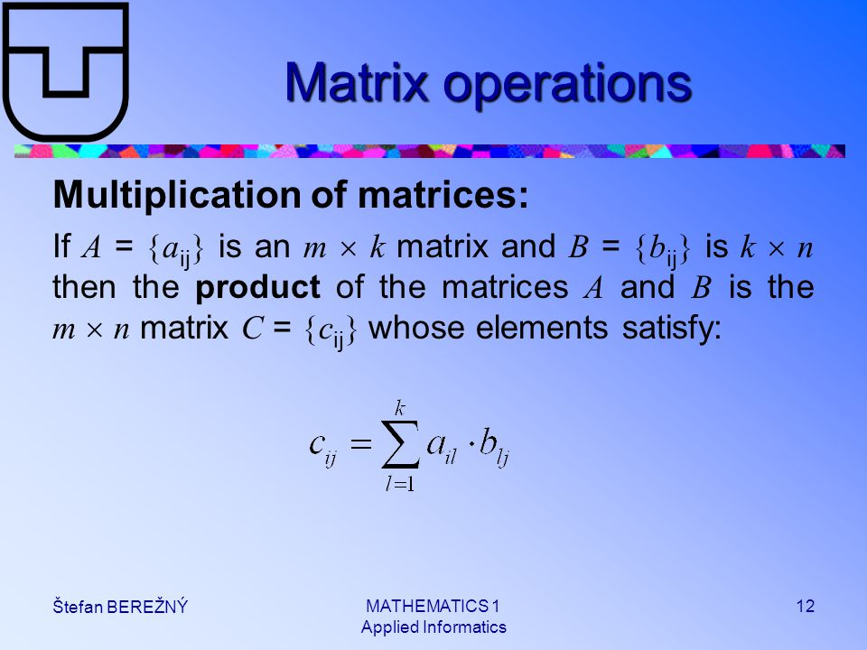 MATHEMATICS 1 Applied Informatics