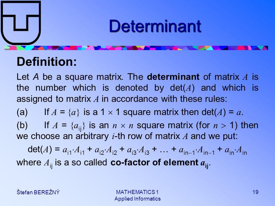 Determinant Definition: