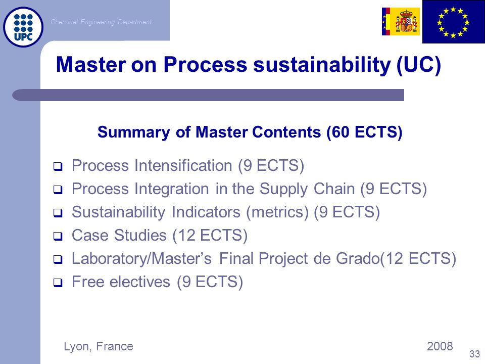 Master on Process sustainability (UC)