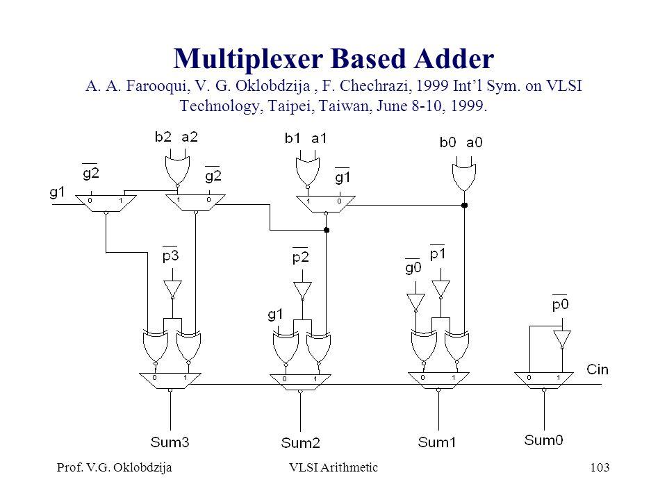 Multiplexer Based Adder A. A. Farooqui, V. G. Oklobdzija , F