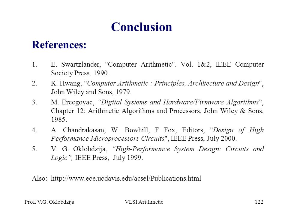 Conclusion References: