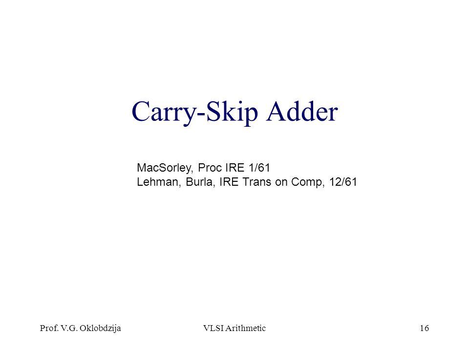 Carry-Skip Adder MacSorley, Proc IRE 1/61