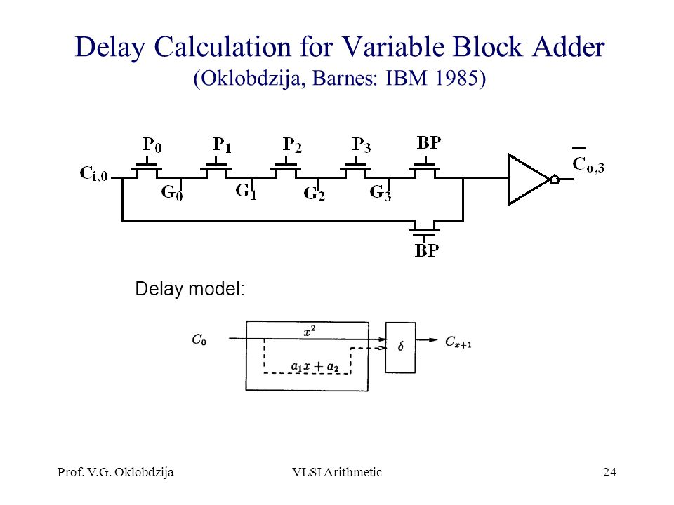 Delay Calculation for Variable Block Adder (Oklobdzija, Barnes: IBM 1985)