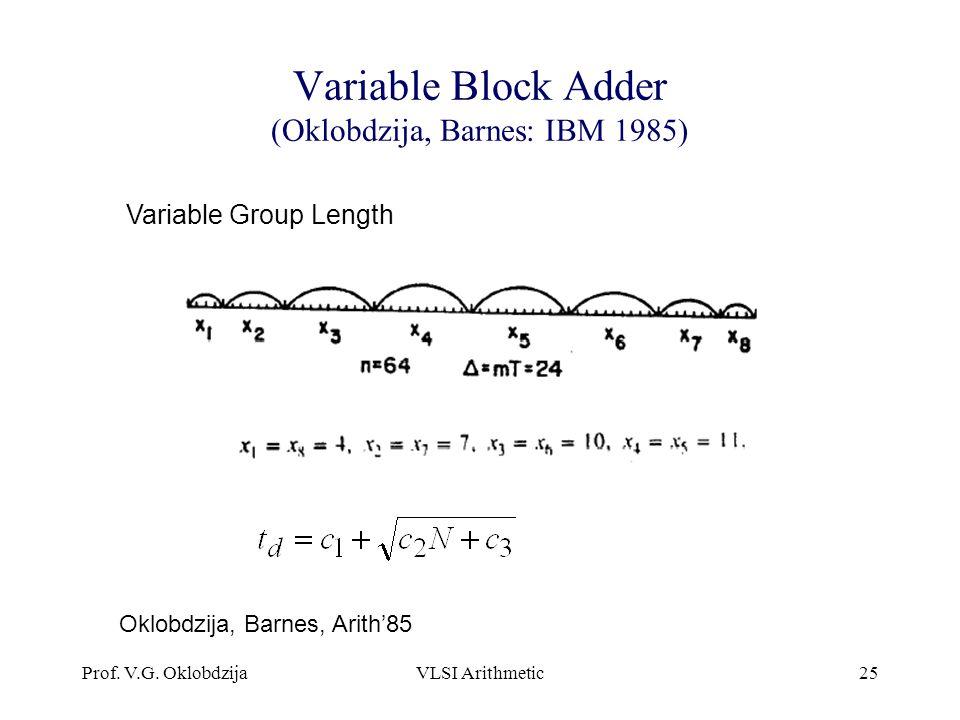 Variable Block Adder (Oklobdzija, Barnes: IBM 1985)