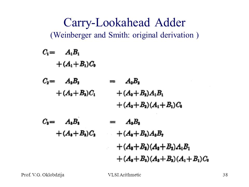 Carry-Lookahead Adder (Weinberger and Smith: original derivation )