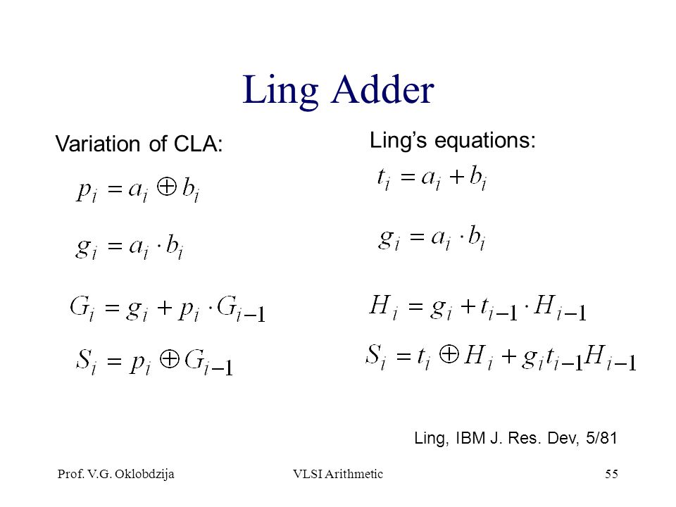 Ling Adder Ling's equations: Variation of CLA: