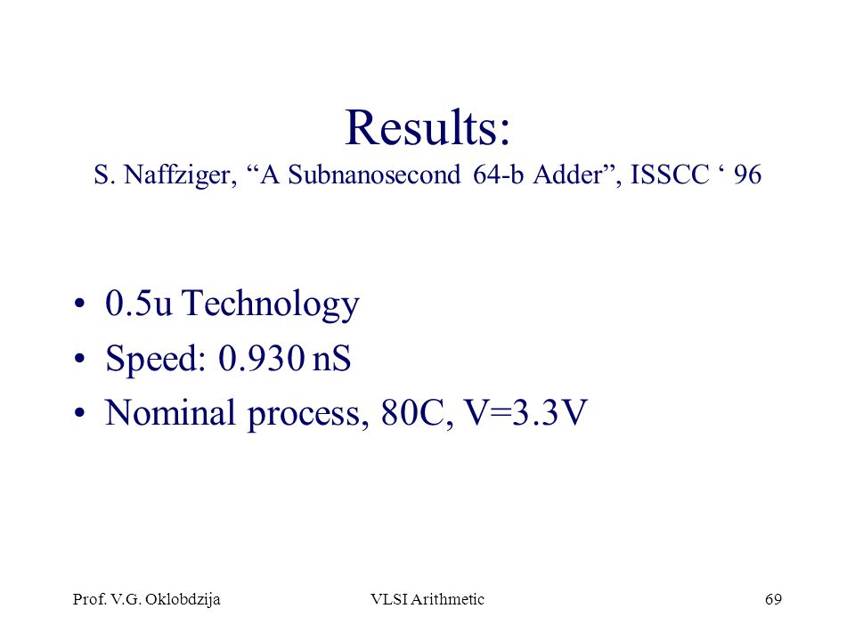 Results: S. Naffziger, A Subnanosecond 64-b Adder , ISSCC ' 96