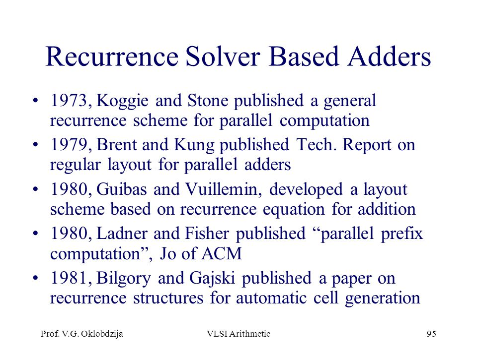 Recurrence Solver Based Adders