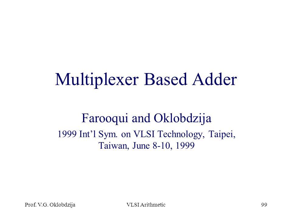 Multiplexer Based Adder