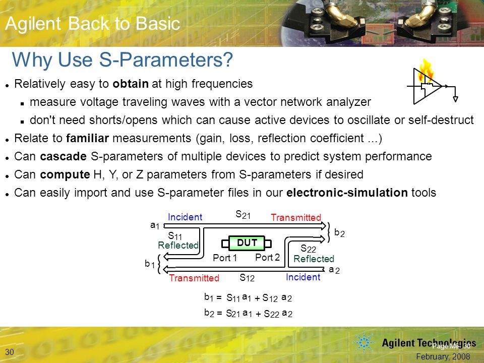 Why Use S-Parameters Relatively easy to obtain at high frequencies