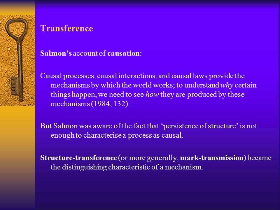 Transference Salmon's account of causation: