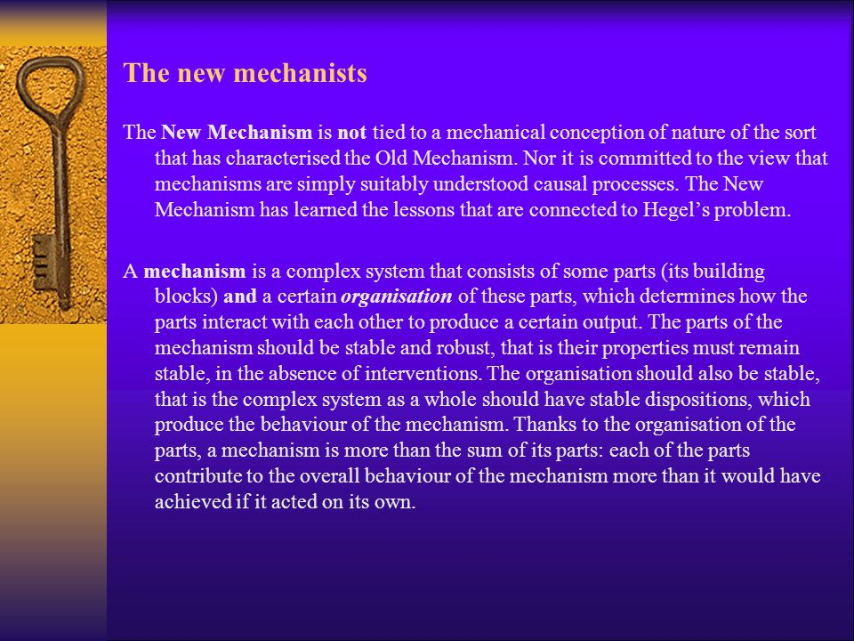 The new mechanists