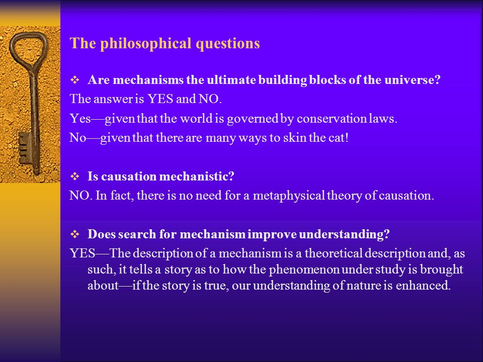 The philosophical questions