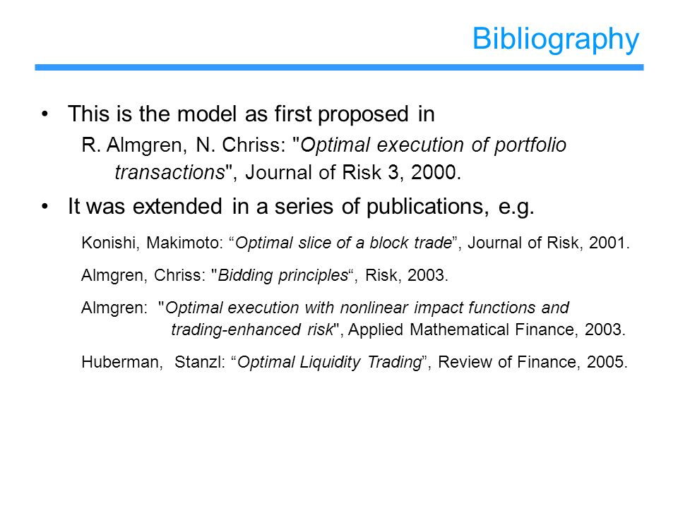 Bibliography This is the model as first proposed in