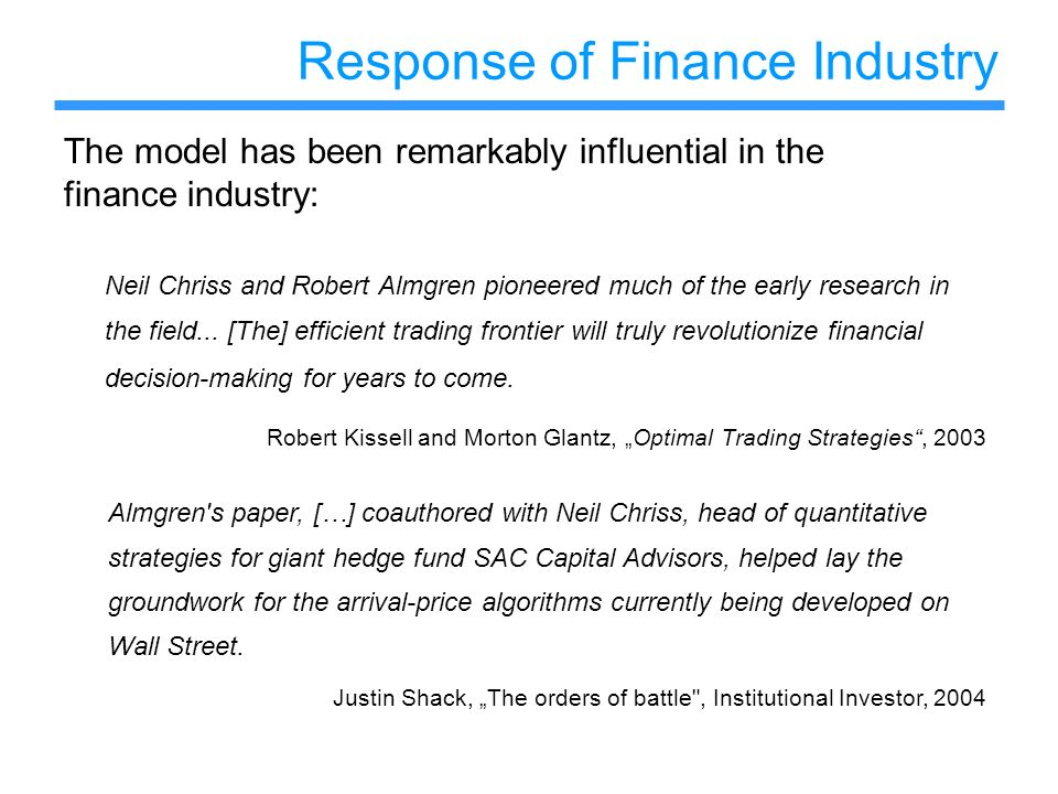 Response of Finance Industry