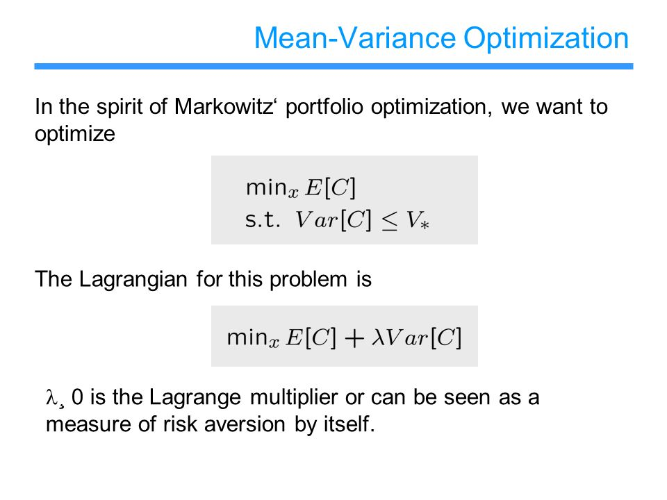 Mean-Variance Optimization
