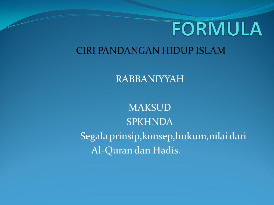 FORMULA CIRI PANDANGAN HIDUP ISLAM RABBANIYYAH MAKSUD SPKHNDA