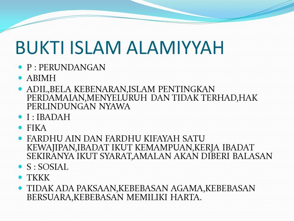 BUKTI ISLAM ALAMIYYAH P : PERUNDANGAN ABIMH