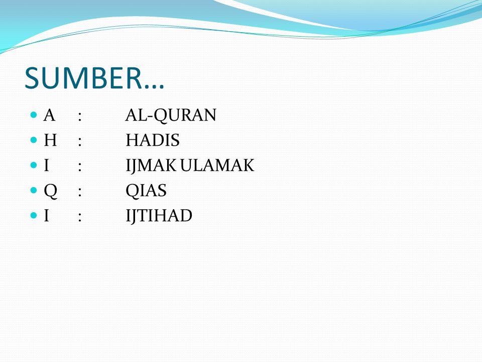 SUMBER… A : AL-QURAN H : HADIS I : IJMAK ULAMAK Q : QIAS I : IJTIHAD