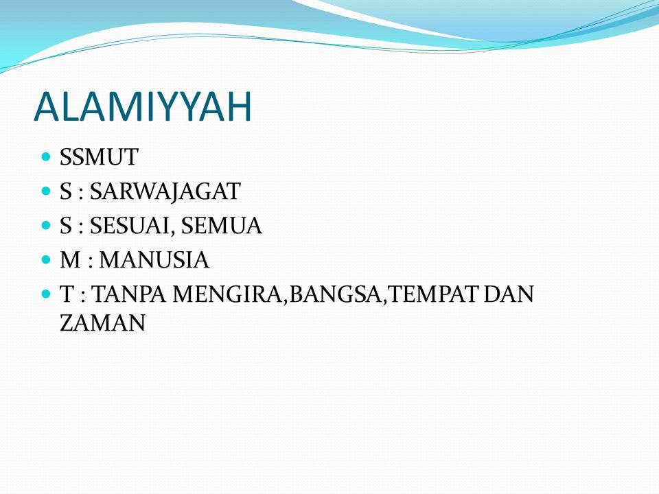 ALAMIYYAH SSMUT S : SARWAJAGAT S : SESUAI, SEMUA M : MANUSIA