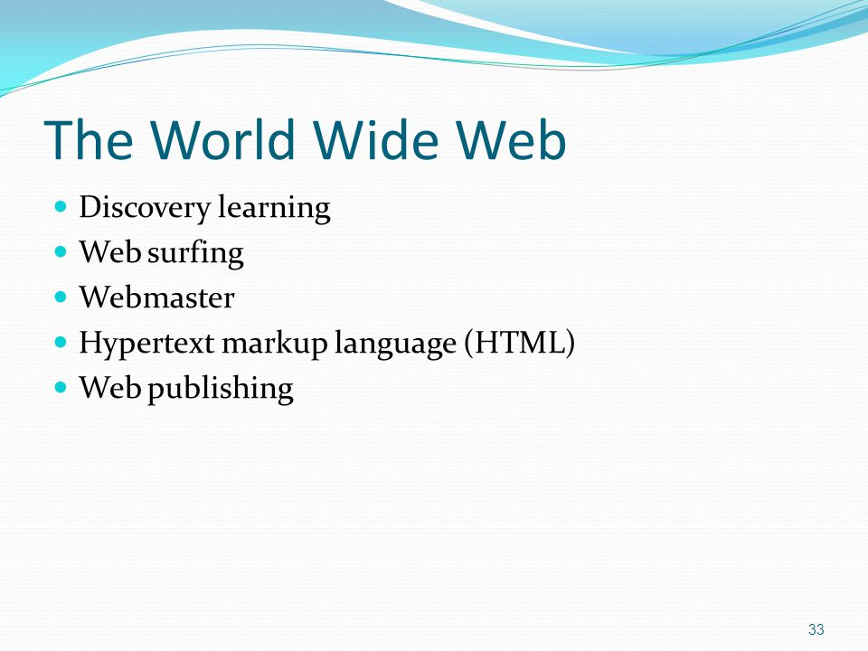 The World Wide Web Discovery learning Web surfing Webmaster