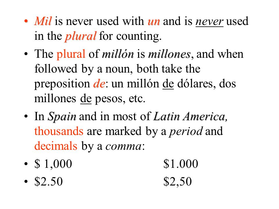 Mil is never used with un and is never used in the plural for counting.