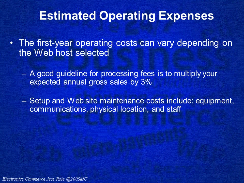 Estimated Operating Expenses