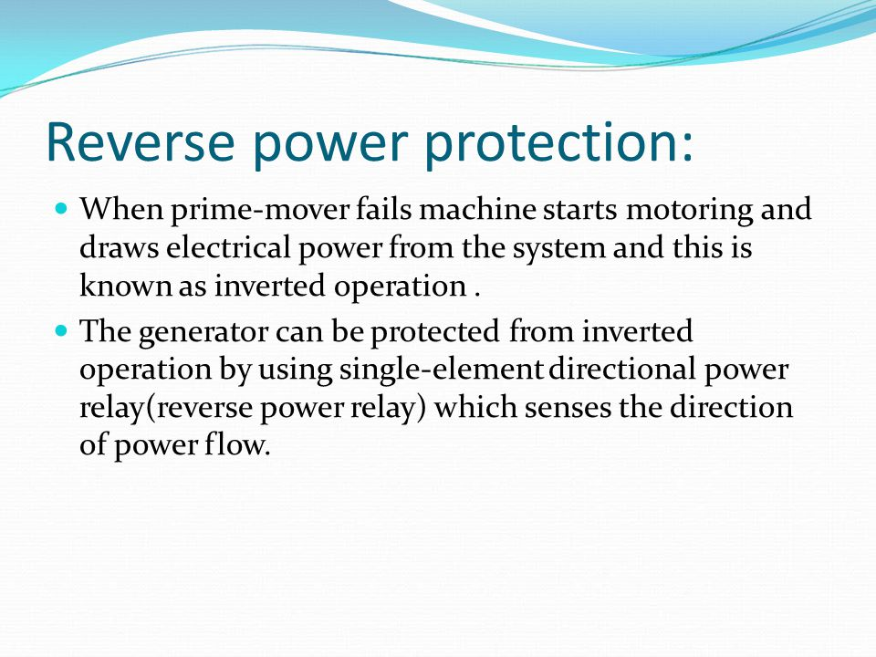 Reverse power protection: