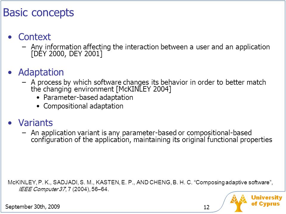 Basic concepts Context Adaptation Variants
