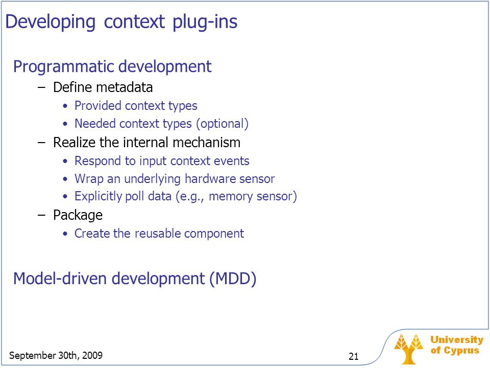 Developing context plug-ins