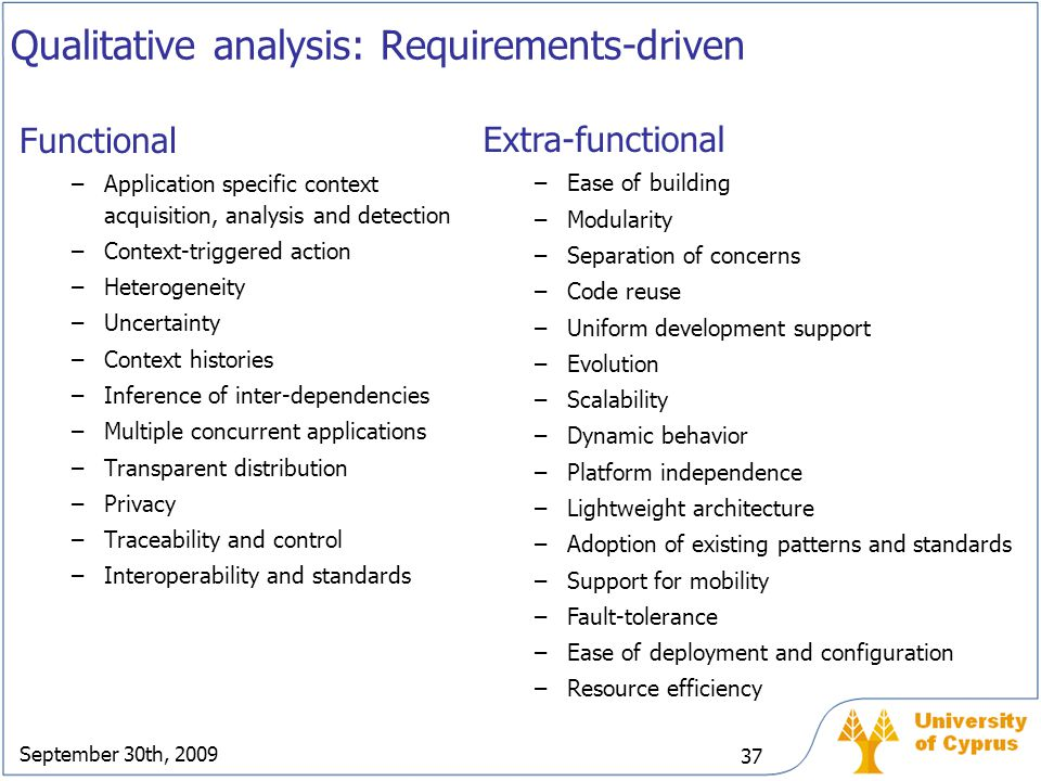 Qualitative analysis: Requirements-driven