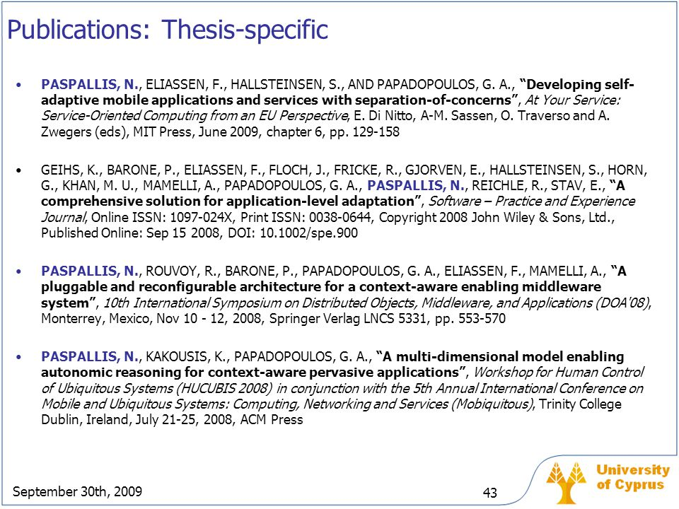 Publications: Thesis-specific