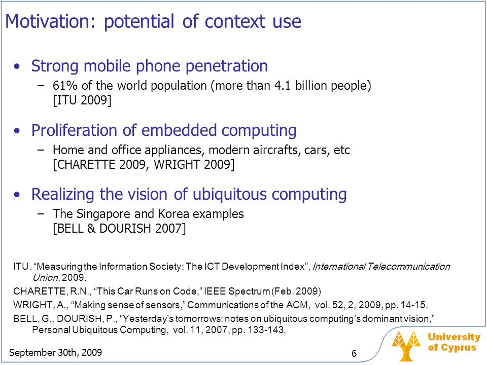 Motivation: potential of context use