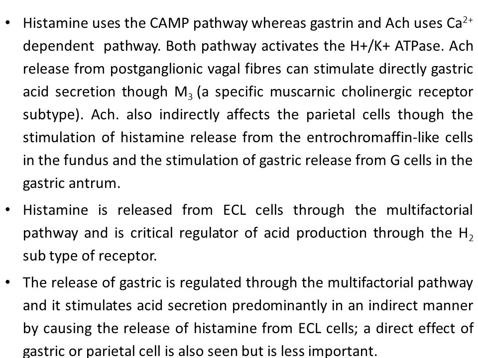 Histamine uses the CAMP pathway whereas gastrin and Ach uses Ca2+ dependent pathway. Both pathway activates the H+/K+ ATPase. Ach release from postganglionic vagal fibres can stimulate directly gastric acid secretion though M3 (a specific muscarnic cholinergic receptor subtype). Ach. also indirectly affects the parietal cells though the stimulation of histamine release from the entrochromaffin-like cells in the fundus and the stimulation of gastric release from G cells in the gastric antrum.