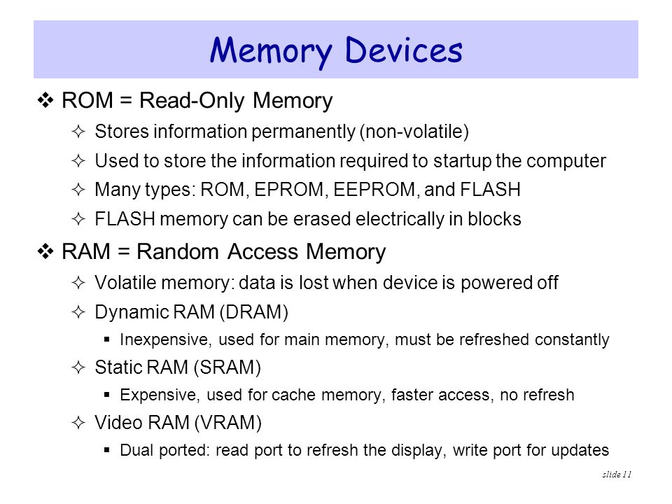 Memory Devices ROM = Read-Only Memory RAM = Random Access Memory