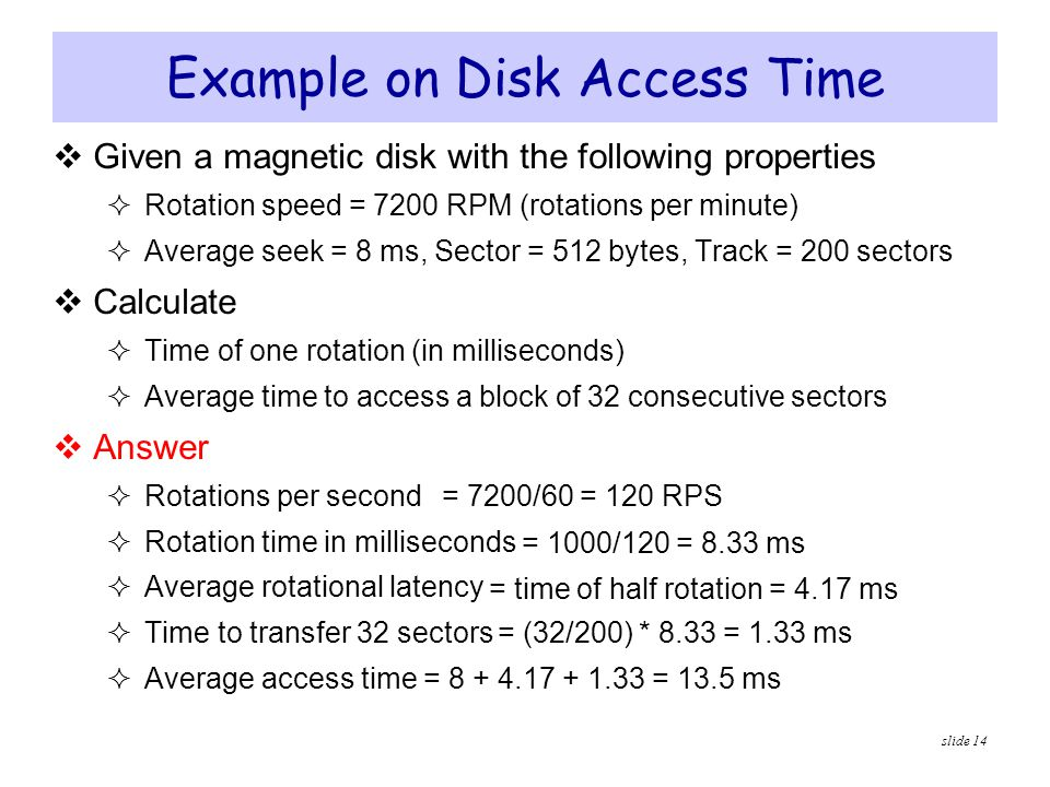 Example on Disk Access Time