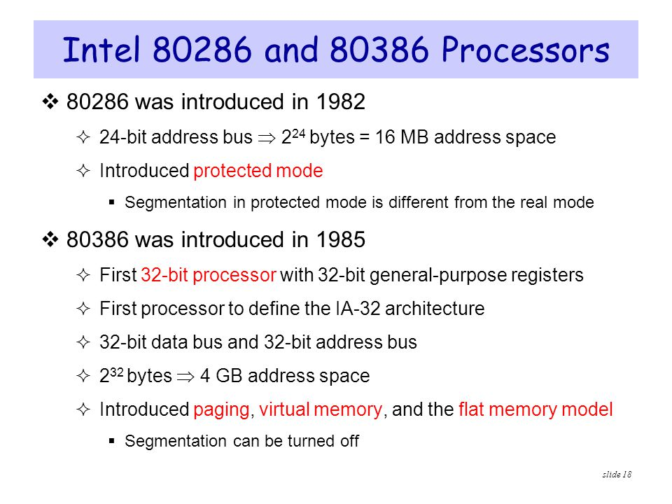 Intel 80286 and 80386 Processors 80286 was introduced in 1982