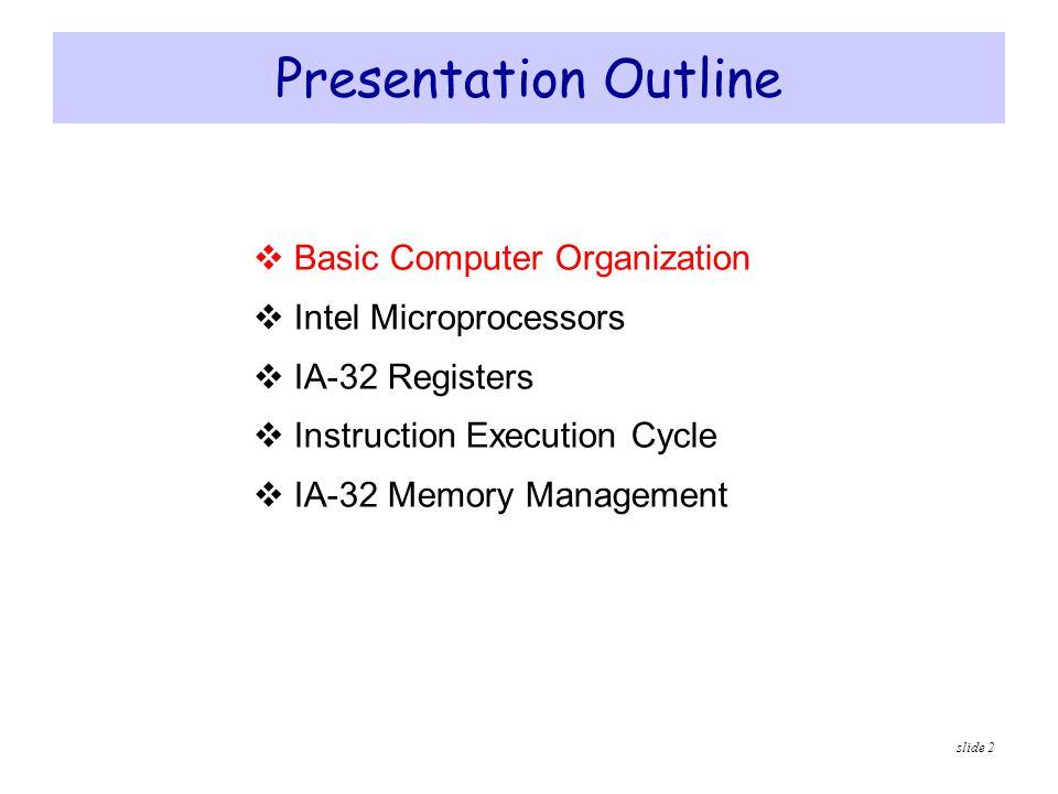 Presentation Outline Basic Computer Organization Intel Microprocessors