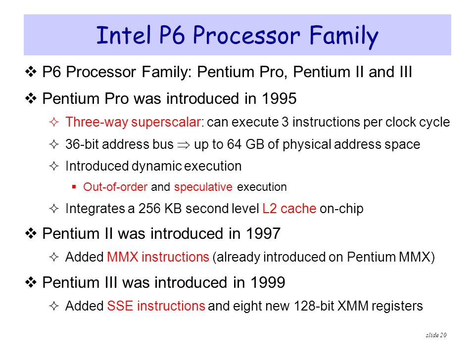 Intel P6 Processor Family
