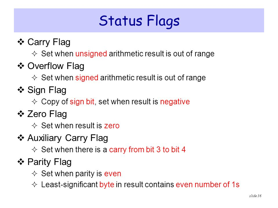 Status Flags Carry Flag Overflow Flag Sign Flag Zero Flag