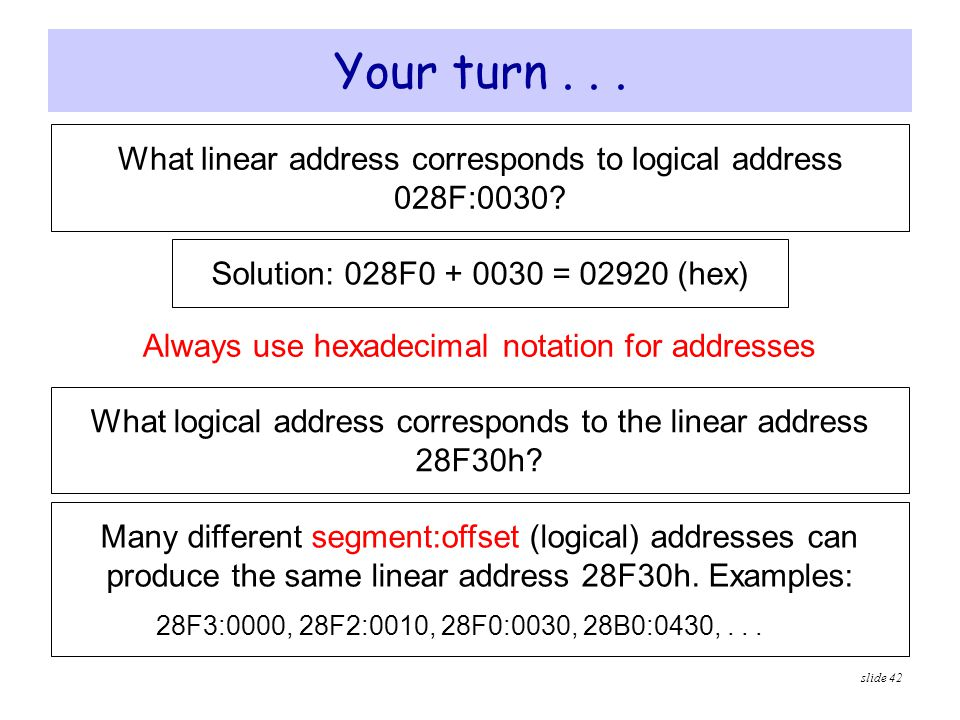 Your turn . . . What linear address corresponds to logical address 028F:0030 Solution: 028F0 + 0030 = 02920 (hex)