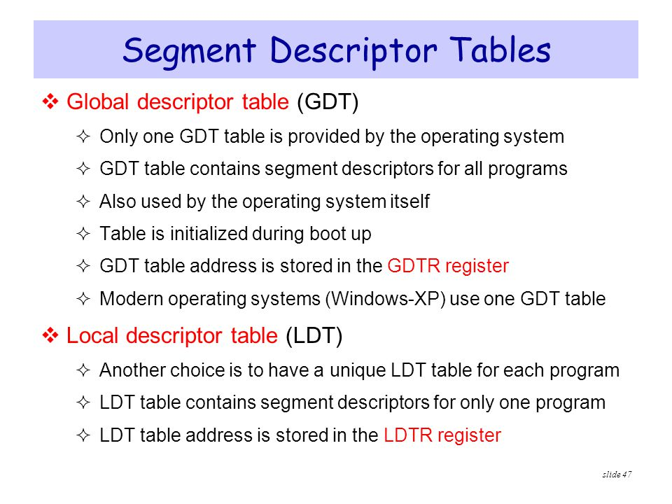 Segment Descriptor Tables
