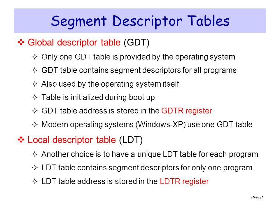 Segment Descriptor Tables