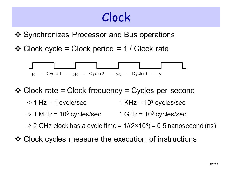 Clock Synchronizes Processor and Bus operations